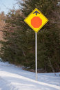 Stop ahead sign and sky Stock Photography