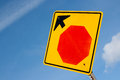 Stop ahead sign and sky Stock Photos