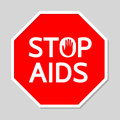 Stop AIDS Sign in Red Polygon.