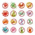 Stop Bacteria Cartoon Vector Illustration No Virus Royalty Free Stock Photo