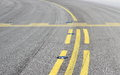 Stop bar on asphalt taxiway Stock Photography