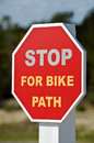 Stop For Bike Path Stock Image