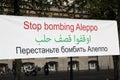 Stop Bombing Aleppo slogan Royalty Free Stock Photo