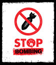Stop Bombing Anti Military Vector Design Element. Sign Concept On Grunge Distressed Background.