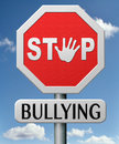 Stop bullying no school bully at or at work stopping an online internet Royalty Free Stock Image