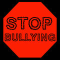 Stop bullying red bulling sign on black background illustration Stock Photography