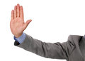 Stop businessman holds up his hand as a gesture Stock Image
