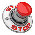 Stop button rugged metal screwed on white background Royalty Free Stock Image