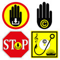 Stop copyright infringement set of warning signs to illegal downloads from the internet Stock Photos