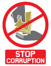 Stop corruption sign symbol hand giving money to other hand Stock Photo