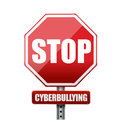 Stop cyberbullying sign illustration design over white Royalty Free Stock Images