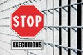 Stop death penalty written on road sign Royalty Free Stock Photo
