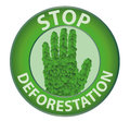 Stop deforestation round sign with the word white background color Stock Images