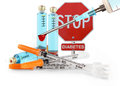 Stop diabetes insulin syringe and vial on white background Stock Photography