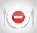 Stop dont eat concept illustration design over a white background Stock Photography