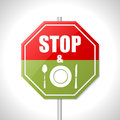 Stop and eat sign bicolor traffic on white Royalty Free Stock Photography