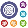 Stop fast food icons set