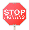 Stop Fighting Red Road Traffic Sign Ceasefire Peace Truce Treaty Royalty Free Stock Photo
