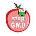 Stop gmo with worm color vector illustration Royalty Free Stock Photography