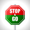 Stop and go sign for racers traffic Stock Photo