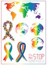 Stop homophobia. Ribbon from little hearts in lgbt flag colors.