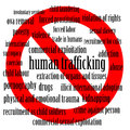 Stop human trafficking word cloud of related words with a sign Royalty Free Stock Photography