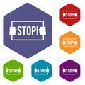 Stop icons set hexagon