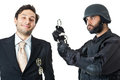 Stop laughing a corrupted businessman being arrested by a swat agent Royalty Free Stock Photos