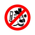 Stop littering. Ban garbage. It is forbidden to litter. red circ