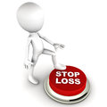 Stop loss button hit by a little man investing concept shares investment and trading intraday concept Royalty Free Stock Image