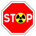 Stop nuclear sign with icon Stock Image