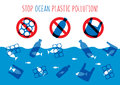 Stop ocean plastic pollution vector illustration