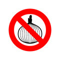 stock image of  Stop onion. acute smell is forbidden. Red prohibitory sign