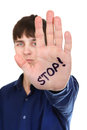 Stop Palm Gesture Stock Photos