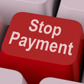 Stop payment key shows halt online transaction showing Royalty Free Stock Photos