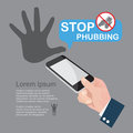 Stop phubbing infographics the act of snubbing someone in a social setting by looking at your phone instead paying attention Royalty Free Stock Images