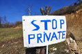 Stop Private Sign Royalty Free Stock Photo