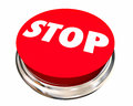 Stop Red Round Button End Cease Word Royalty Free Stock Photo