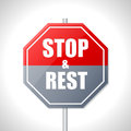 Stop and rest sign bicolor traffic on white Stock Photos