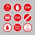 Stop road sign with hand gesture. Vector red do not enter traffic sign. Caution ban symbol direction sign. Warning stop signs