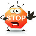 Stop road sign icon character illustration of a funny cartoon traffic doing danger and warning gesture Royalty Free Stock Photo