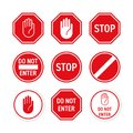 Stop road sign vector red hand enter gesture