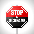 Stop and scream traffic sign bicolor on white Royalty Free Stock Photography