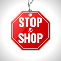 Stop and shop merchandise label hanging on string Stock Photo