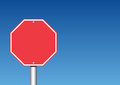 Stop sign blank with blue sky in the background add your own text Stock Images