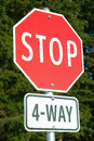 Stop Sign Four Way Stock Photography