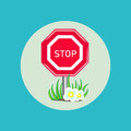 Stop sign with grass and flowers flat design icon Stock Photography