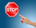 Stop sign with human hand Royalty Free Stock Photos