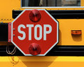Stop sign on school bus Royalty Free Stock Photo