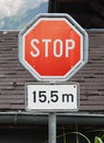 Stop sign traffic stop sign after meters Stock Photo